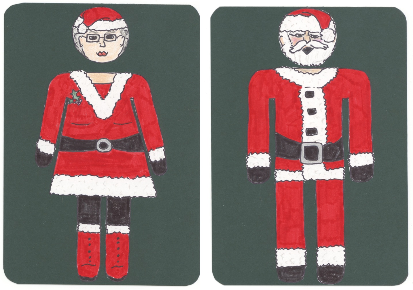 Santa His And Her Bathroom Signs