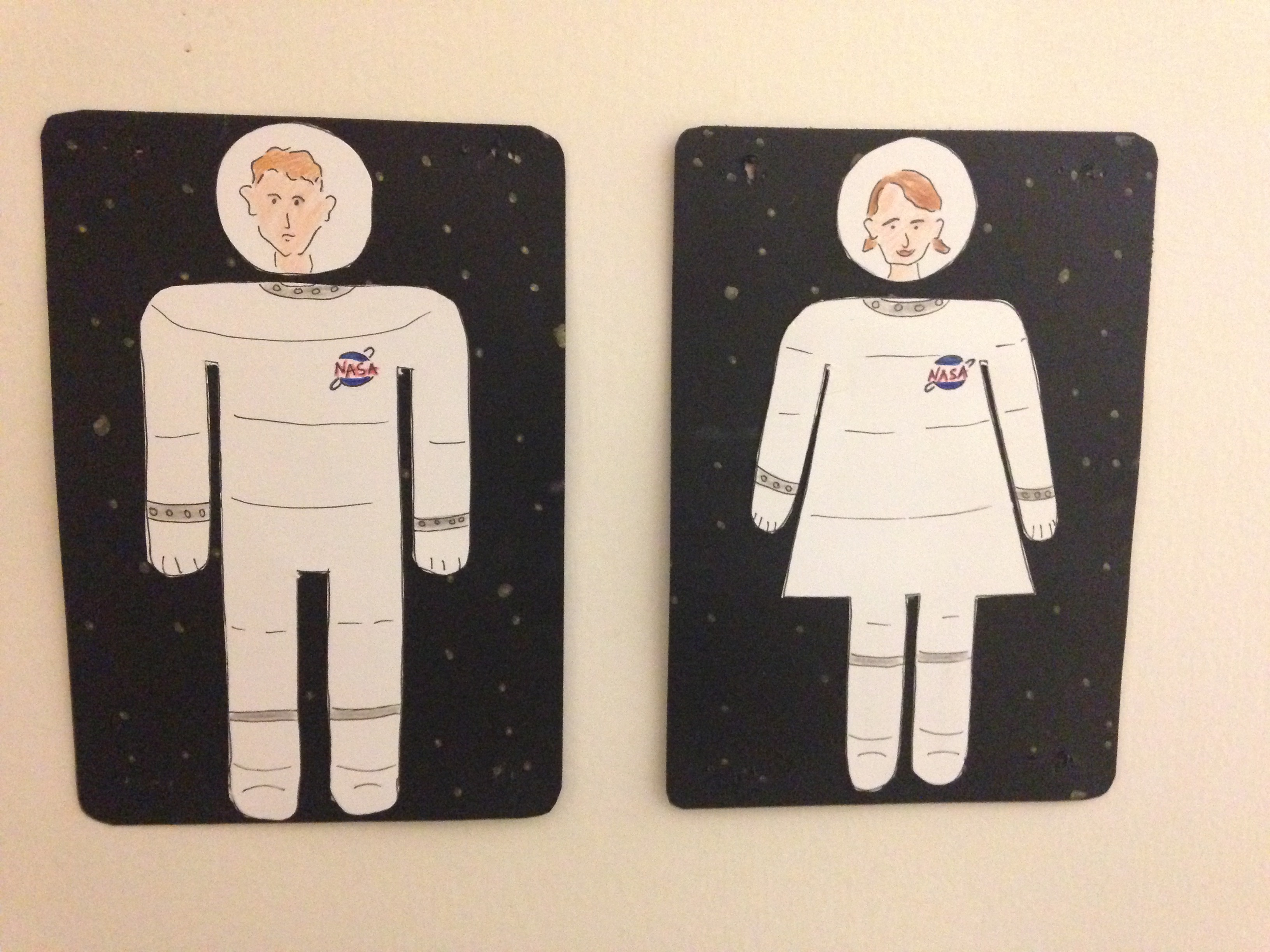Who Wants Those Boring Bathroom Sign Symbols When You Can Have Astronaut  Themed His/her Bathroom Sign Symbols. Handmade On Paper And Card Stock.