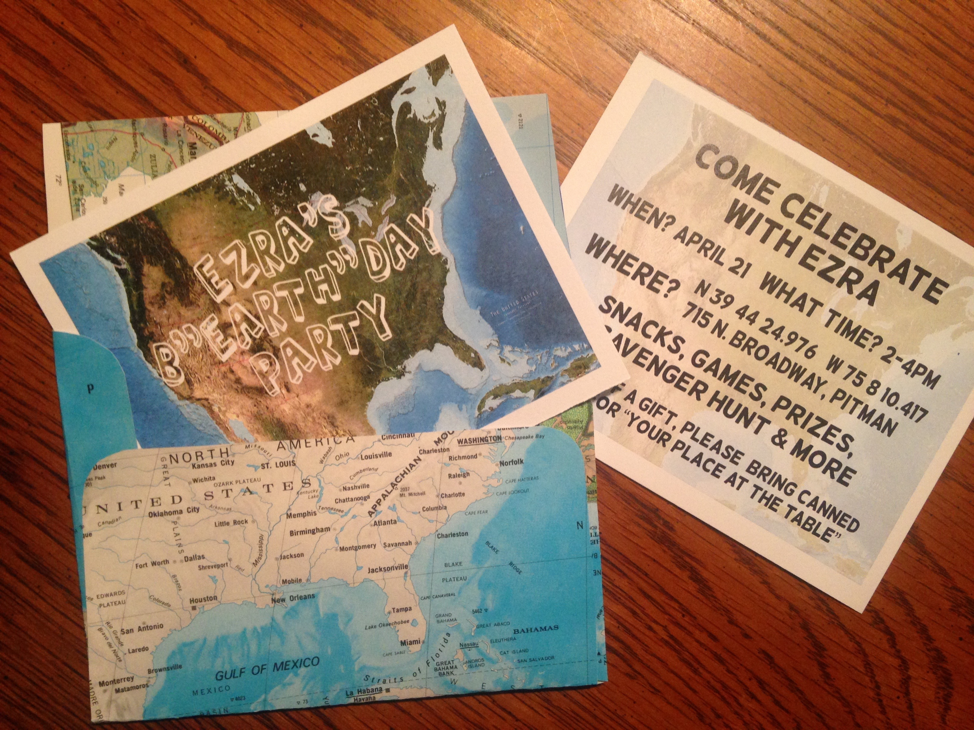 Map Party Invitation Envelopes | White Elephant Creations